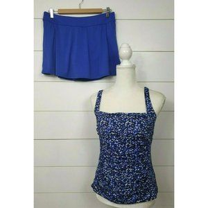 LL Bean Size 12 Swimsuit Tankini Top Skirt UPF 50+